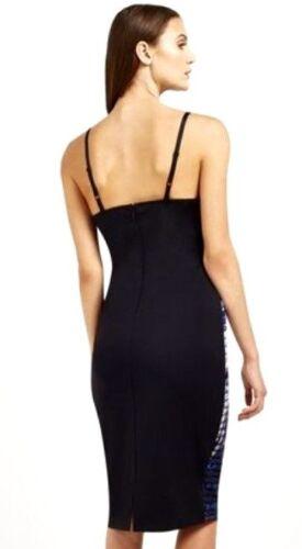 New Women/'s Lipsy V Neck Scarf Print Cami Bodycon Dress Black//Multi UK 8 RRP£70