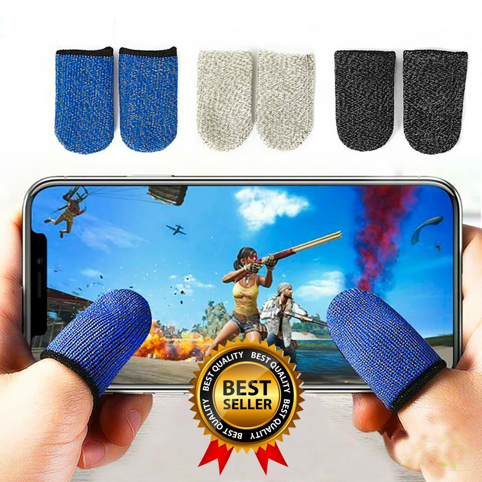 1 Pair Thumb Finger Sleeve Mobile Game Sleeve Touch Screen Gaming Gloves PUBG
