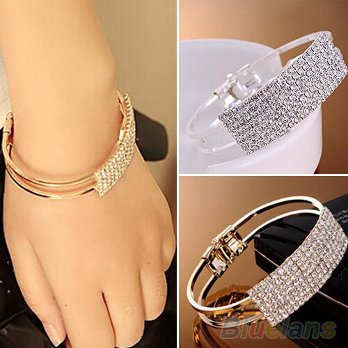 GOLD SILVER PLATED CHAIN WRISTBAND BANGLE SPLENDID CRYSTAL CUFF BRACELET GIFT