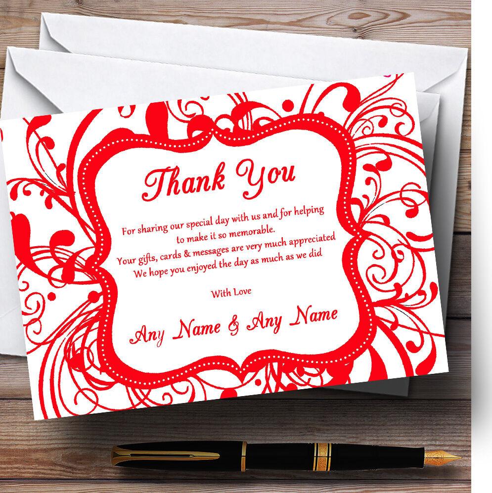 White  & Rouge  White Swirl déco mariage Personnalisé Cartes RemercieHommes t 675282