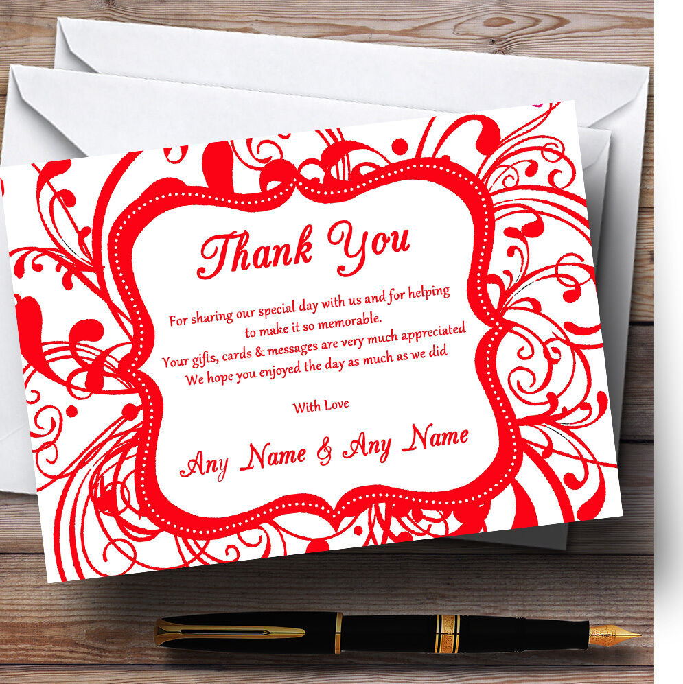 White & Rouge  Swirl déco mariage RemercieHommes Personnalisé Cartes RemercieHommes mariage t 73c139