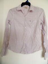 HOLLISTER Pink White Blue  Plaid Button Up Women's Shirt  - Sz L