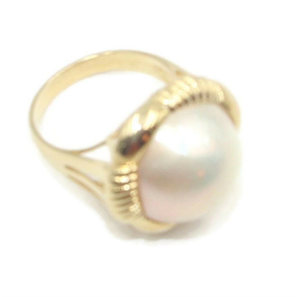 Mabe Pearl White Ring 14k Yellow gold,Size 7 1 2