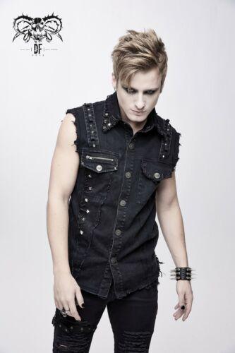 Diable Fashion sans manches Punk Chemise en jean avec poches délavé noir WT045
