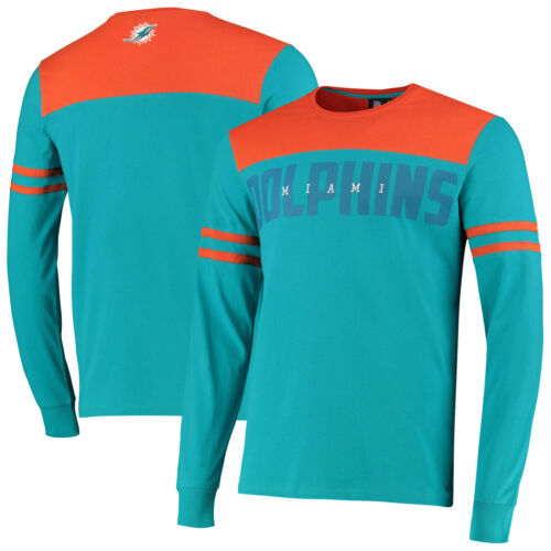 Teal Mens Crew Neck Miami Dolphins Cut And Sew Long Sleeve T-Shirt