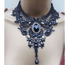 Fashion Ladies Beautiful Victorian Vintage Black Lace Beaded Necklase Choker