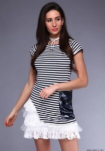 26b7602b7e41 Image is loading Stripe-Sequin-Summer-Ruffle-Frill-Casual-Swing-Stretch-