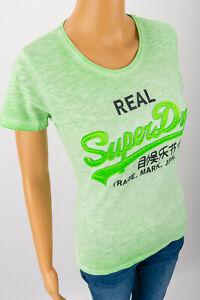 Superdry-vert-pale-T-shirt-top-avec-Doux-Cousu-sur-Lettrage-Taille-M