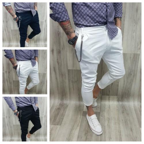 Pantalone Elastico Uomo Cotone Capri Italy Pence Catena Bottone s,m,l,xl B13