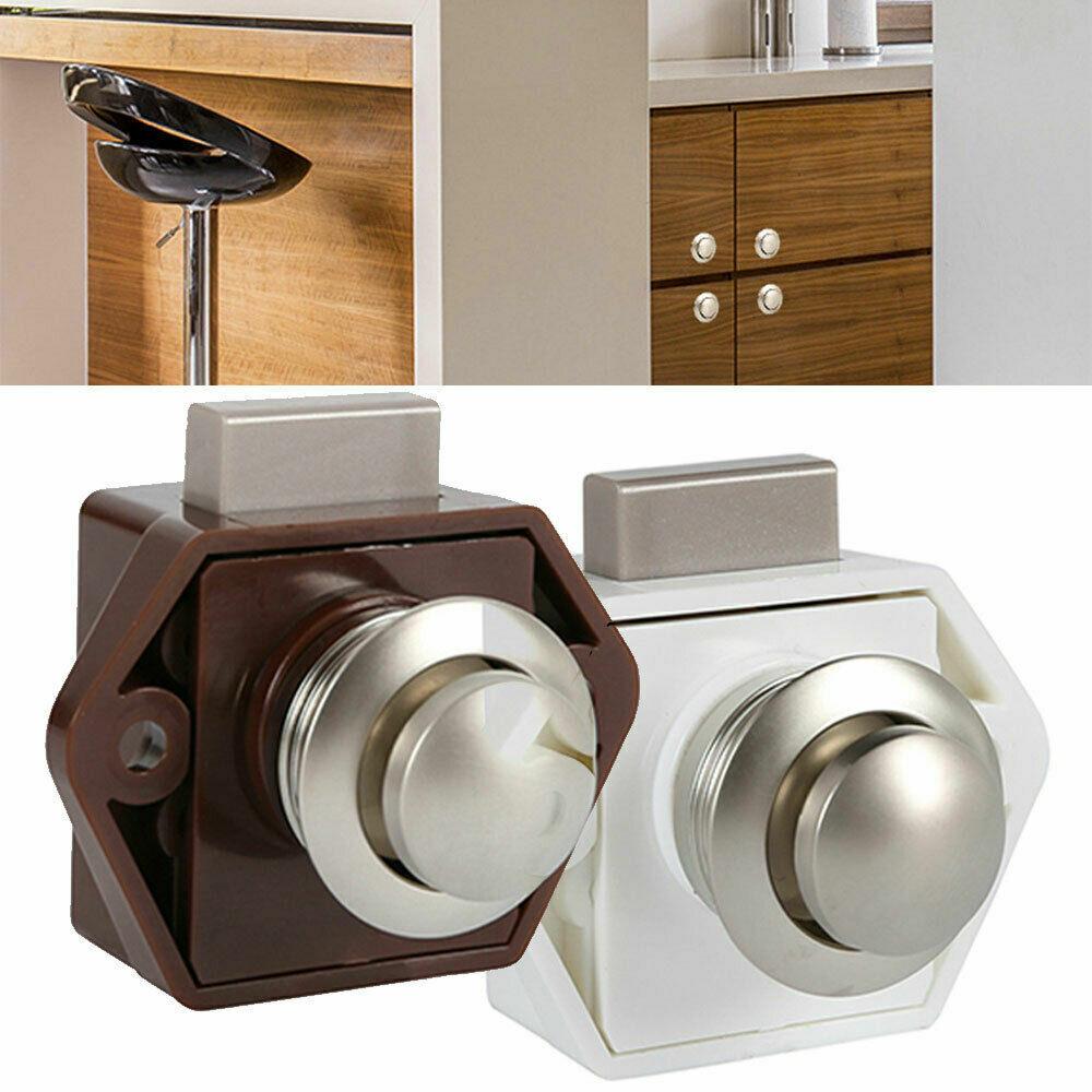 10pcs Push Button Catch Lock Cupboard Door Knob RV Caravan Motorhome