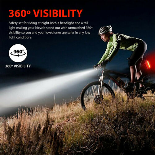 MTB Bike Bicycle Cycling USB Rechargeable LED Head Front Light Rear Tail Lamp.