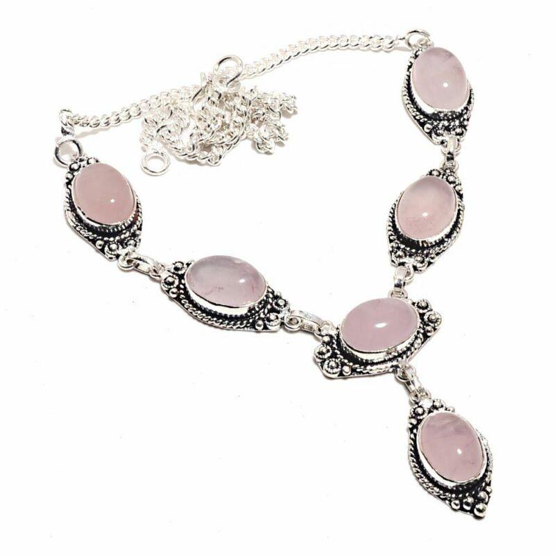 Rose Quartz Ethnic Jewelry Handmade Necklace 28 Gms Un-3819