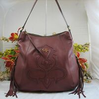 Gorgeous Oryany Large Brown Pebbled Leather Shoulder Bag With Dual Tassels