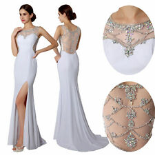 White Slit Formal Evening Bodycon Dress Long Wedding Prom Party Gowns Plus Size