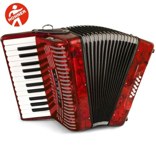 NEW Hohner Hohnica 1303 25 Key Student Piano Accordion Straps Red Gig Bag