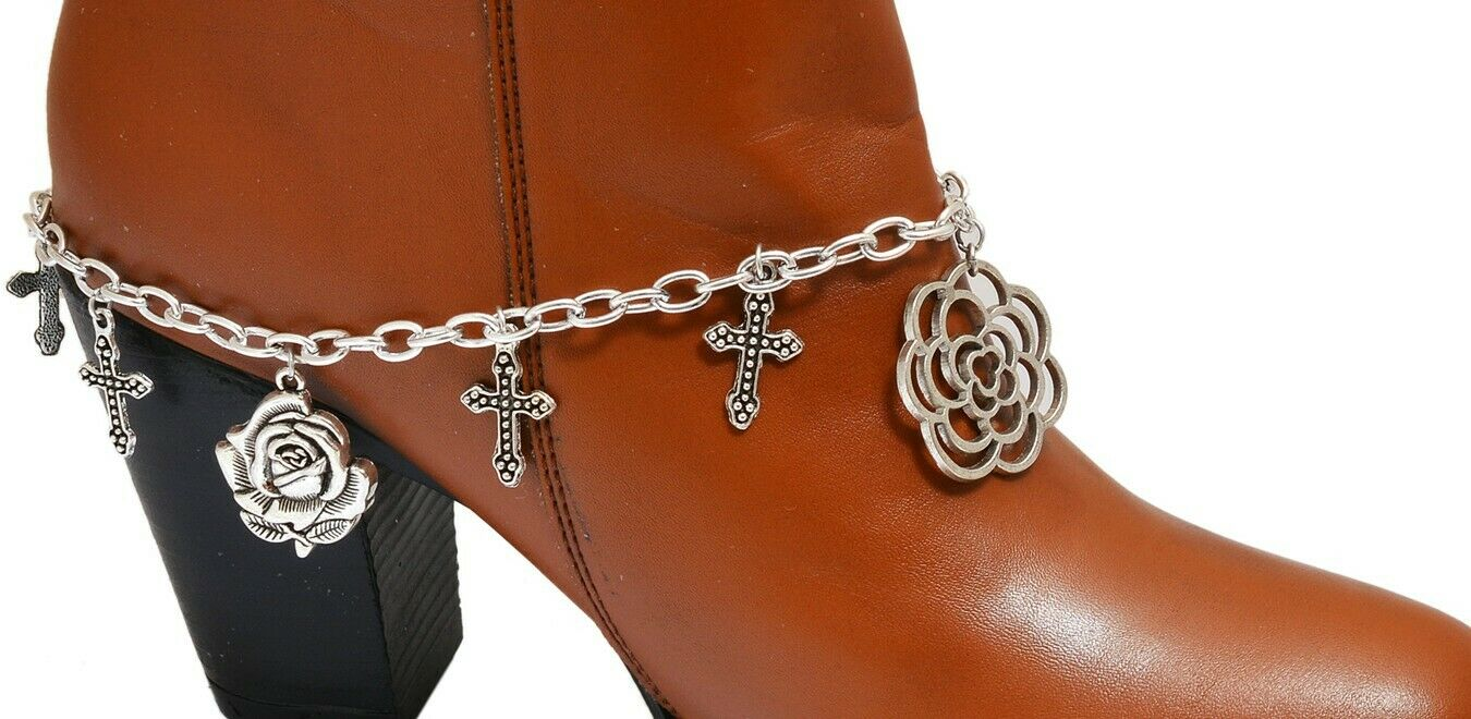Handcrafted Women Boot Anklet Rose Shoe Charm Bracelet Designer Fashion Jewelry