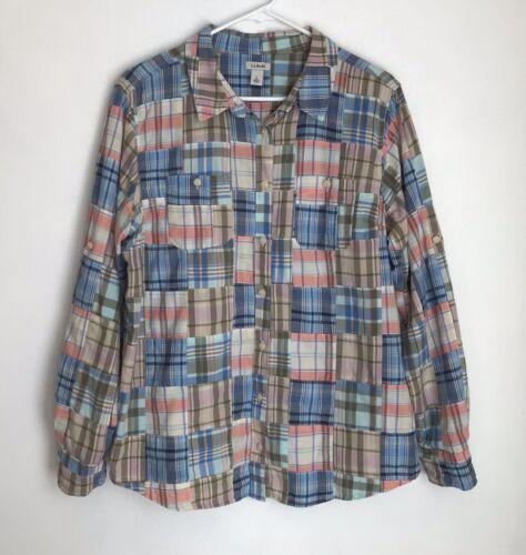 Vintage LL Bean Womens L Shirt Plaid Patchwork But