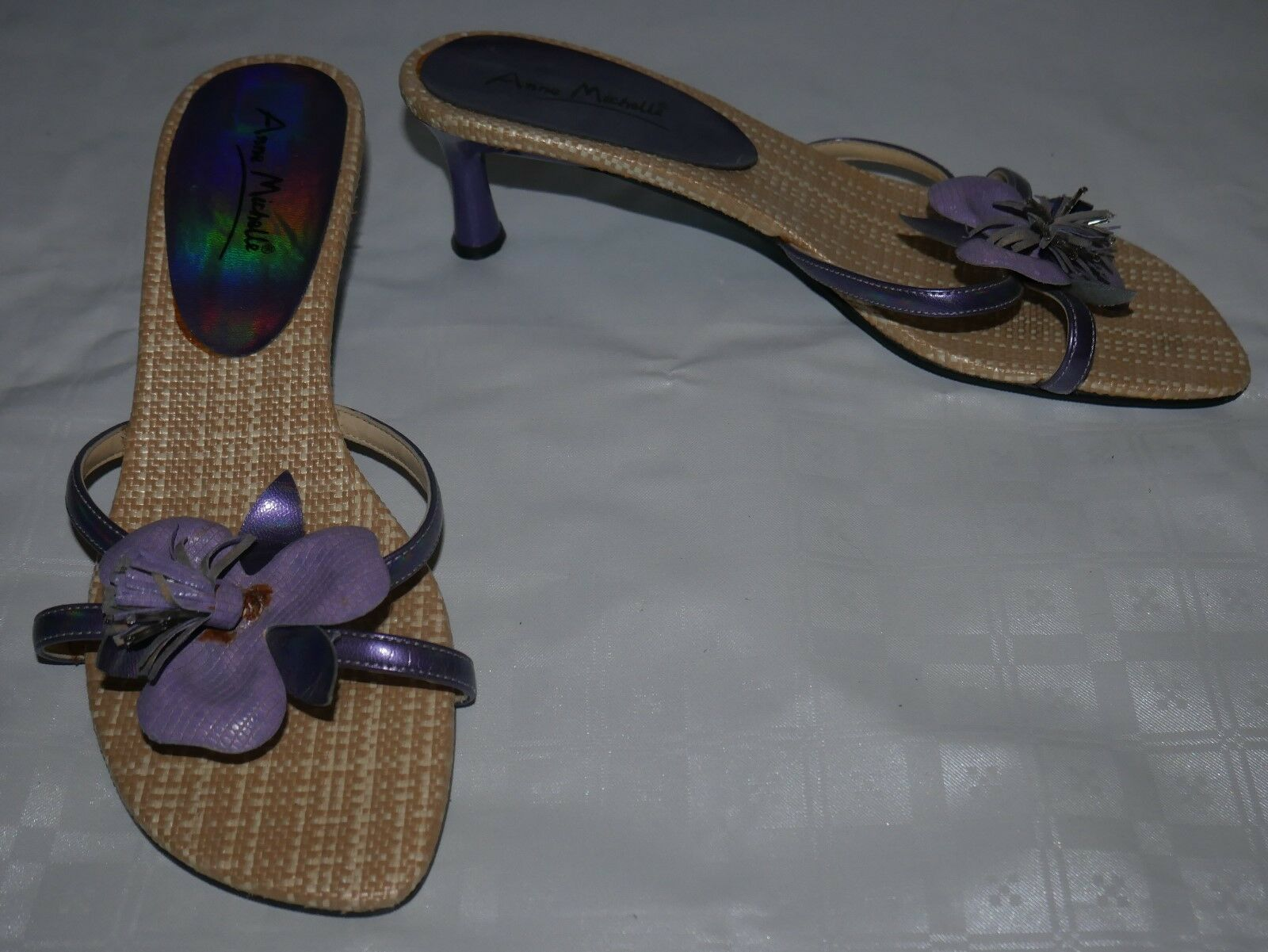Moda jest prosta i niedroga Ladies Purple Anne Michelle Shoes Size 7 Floral Detail Sandals Heels