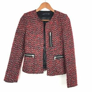 Zara-Woman-Red-Black-Boucle-Tweed-Boxy-Zips-Pockets-Biker-Blazer-Jacket-XS-6-8