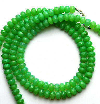 """Natural Gem Chrysoprase Color Chalcedony 8MM Facet Rondelle Beads Necklace 16/"""""""