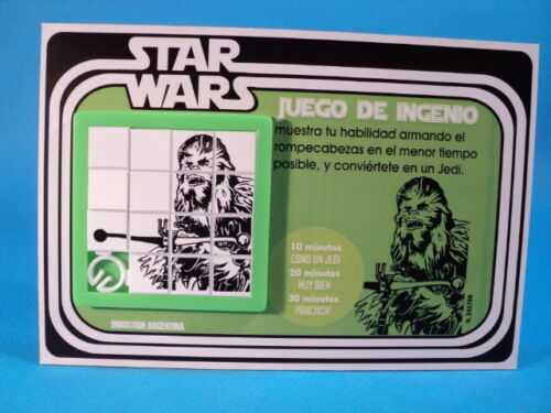 STAR WARS CHEWBACCA Wookiee SLIDE PUZZLE SKILL GAME CARDED ARGENTINA