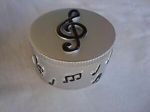 """MUSIC Trinket Box G Clef with Notes 2"""" Diameter Great Music Gift Brand NEW"""