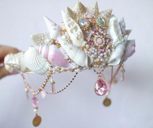 Pink Crystal Sea Shell Mermaid Crown Hair Head Band Choochie Choo Bride Bridal