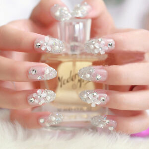3D-Bride-Wedding-False-Artificial-Fake-Nails-Tips-French-White-Stud-Finger-FO