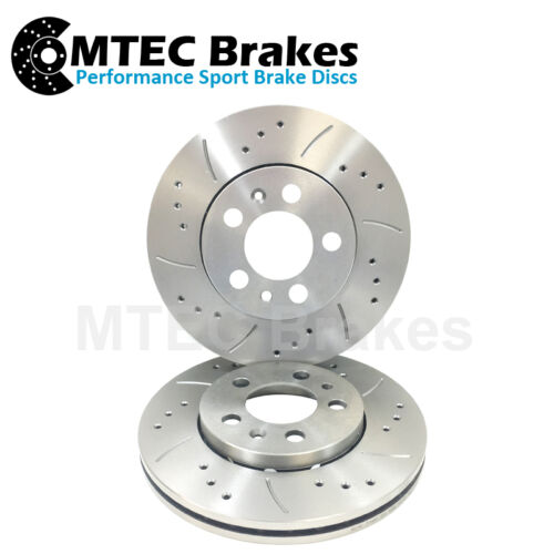 F16A 04//91-03//96 Front Drilled /& Grooved Brake Discs Mitsubishi Sigma 3.0