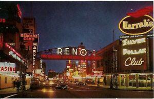 Postcard Night View Casino Row Virginia Street Reno Nevada