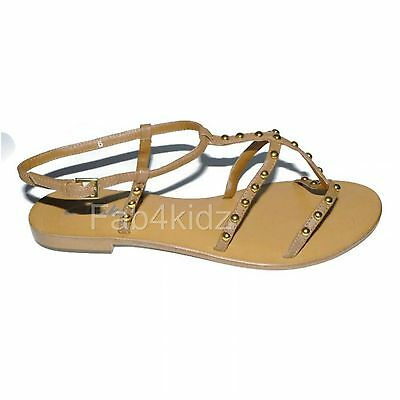 Clarks womens ladies Selsey Race tan brown flat leather sandals size 6 D
