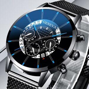 Men-Fashion-Sport-Mesh-Stainless-Steel-Belt-Strap-Watch-Luxury-Calendar-Quartz-W