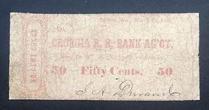 Atlanta-Georgia-Civil-War-R-R-Rail-Road-Bank-Ag-039-cy-50-of-March-25-1862-Durand