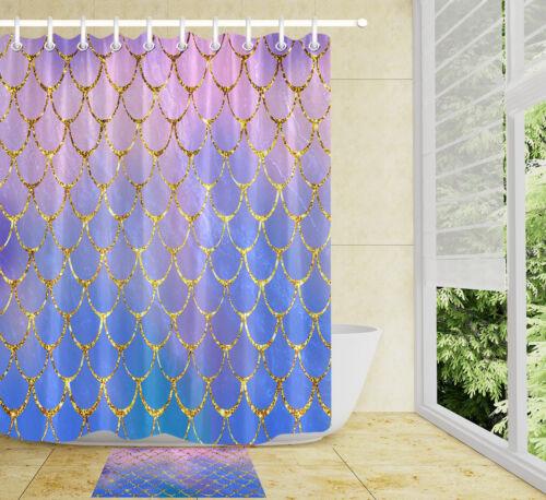 "Mermaid Fish Scales 72X72/"" Waterproof Fabric Shower Curtain Liner Bathroom Decor"