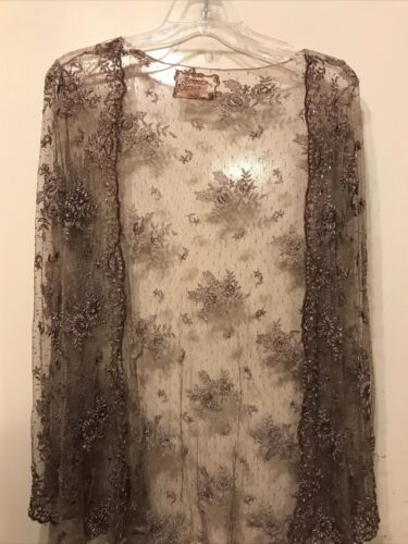 Bonnie Strauss Brown Sheer Mesh Beaded And Embroid