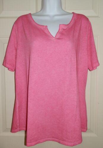 New Womens 3X 24W-26W Pink Notch Neck T-Shirt Generous Fit Terra /& Sky