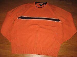 Tommy-Hilfiger-Men-039-s-Sweater-Crew-Neck-Pullover-Orange-Blue-Size-Large