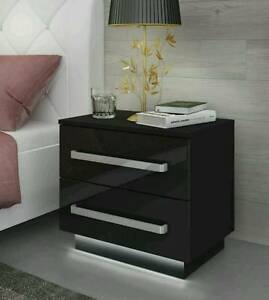Black Bedside Cabinet Table Rita Free Led High