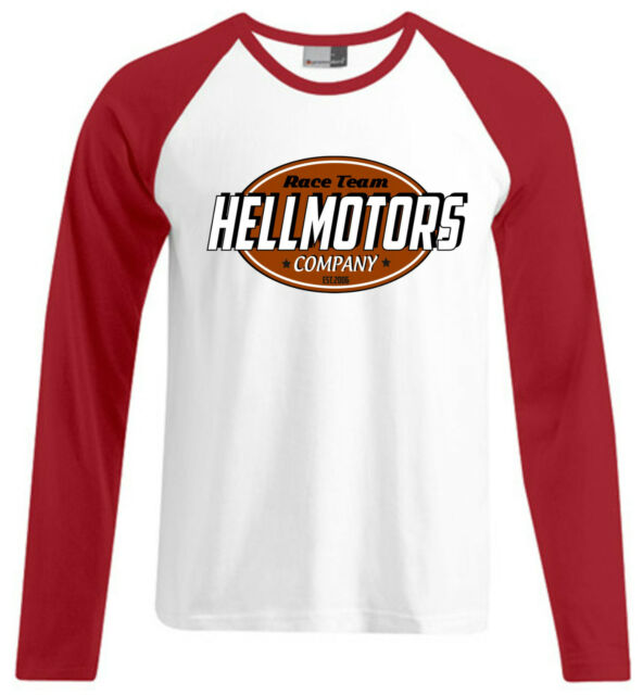 Hellmotors Logo Baseball langarm T-Shirt Chopper Hot Rod US Muscle Car Oldschool