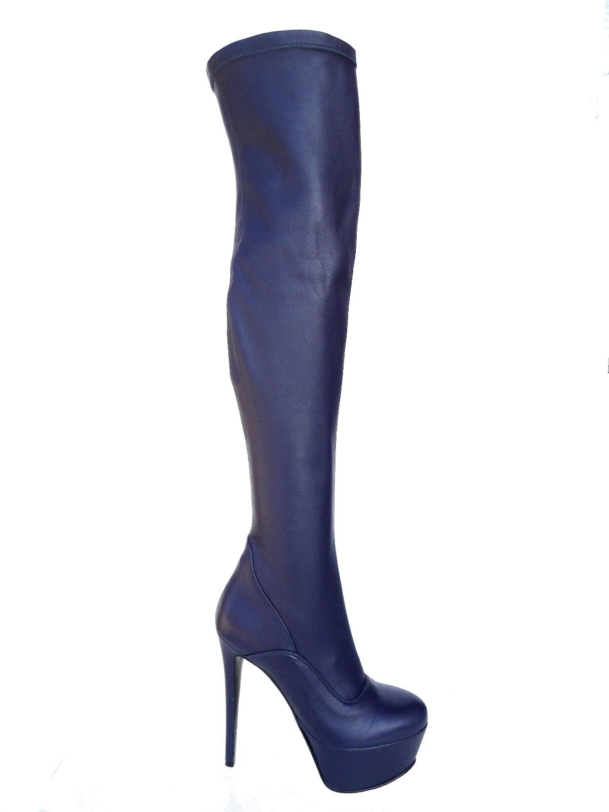 GIOHEL GIOHEL GIOHEL PLATFORM OVERKNEE HIGH HEELS bottes bottes BOTTES STRETCH CUIR BLEU 35 e774a3