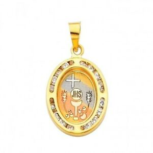 14K Yellow Gold Communion Cubic Zirconia CZ Religious Charm Pendant For Necklace or Chain