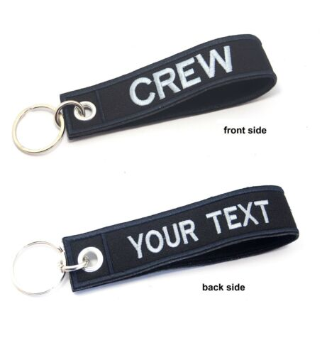 CREW EMBROIDERED CUSTOM NAME LUGGAGE TAG KEYCHAIN REMOVE BEFORE FLIGHT CREW