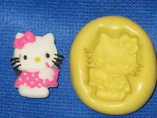 Hello Kitty With Drink Push Mold Flexible Resin Food Safe Silicone  #759 Cake