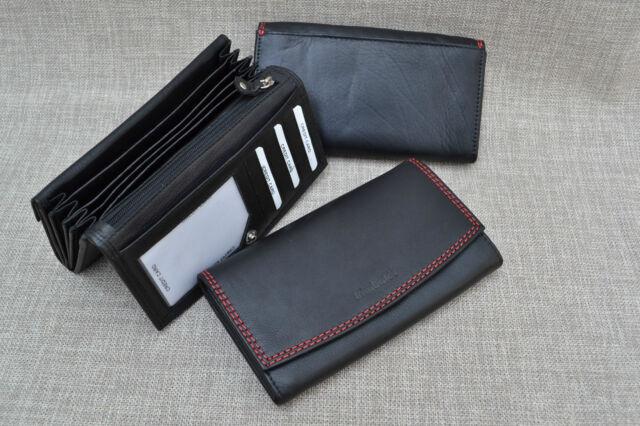 Geldbörse groß Damen Leder Portemonnaie Langformat  Ledergeldbörse L16