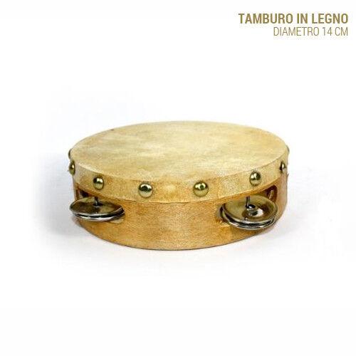 Tamburo Tamburello In Legno 14 cm Con Sonagli Arredo Casa Strumento Musicale
