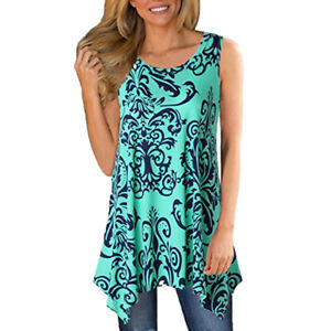 43d71edd603 Image is loading Women-Printed-Sleeveless-Shirt-Asymmetrical-Loose-Tunic- Blouse-