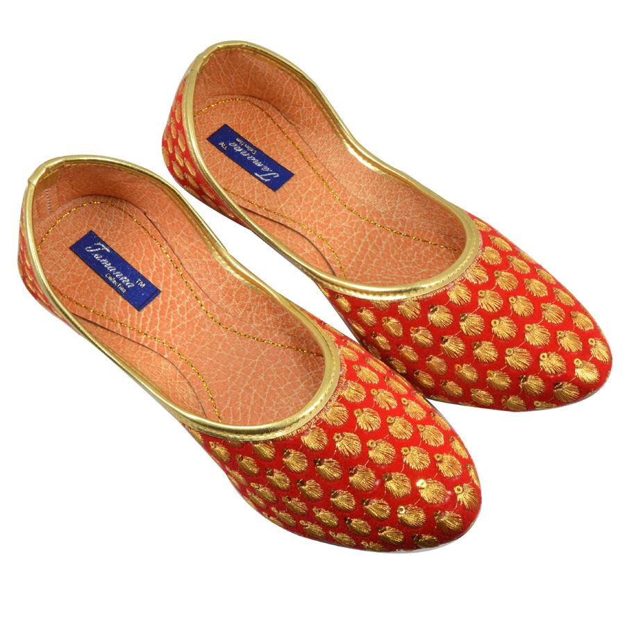 US 6-10 IndianTraditional Mojari Khussa For Flat Ethnic Red Color For Khussa Women 4ea758