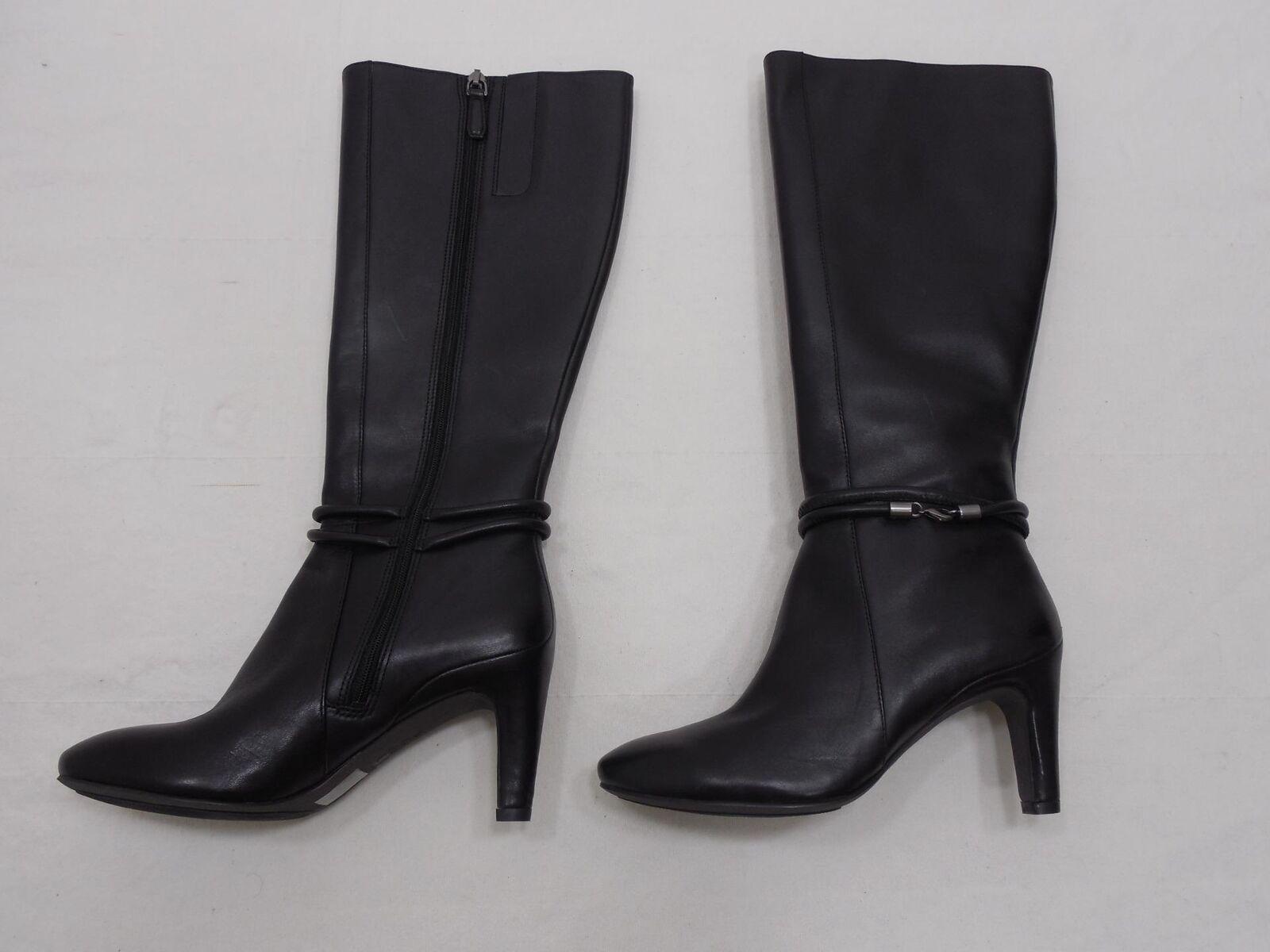 Ecco Chaussures Femme en Cuir Noir 7.5 Fermeture Éclair Latérale Équitation Bottes Hautes Équitation Bride Cheville