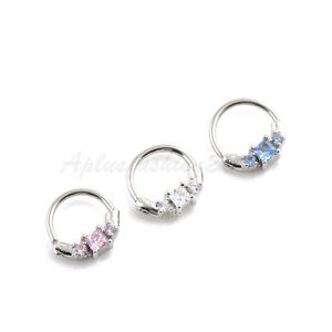 16g-Hanger-Rhodium-Plated-Brass-Septum-Clickers-with-Cubic-CZ-India-Nose-Ring