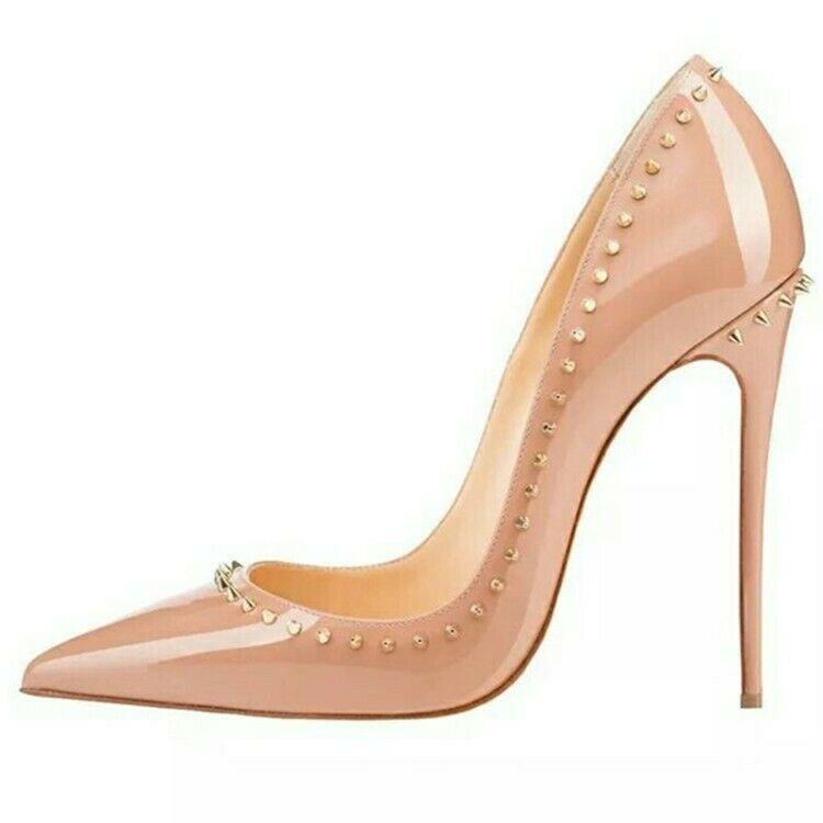Womens Patent Leather Stud Stiletto High Heels Heels Heels shoes Pointed Toe Slip on Pumps a6ba52